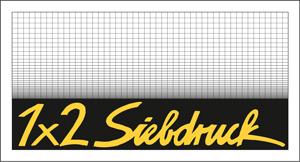 das erste Logo der 1x2 Siebdruckwerkstatt